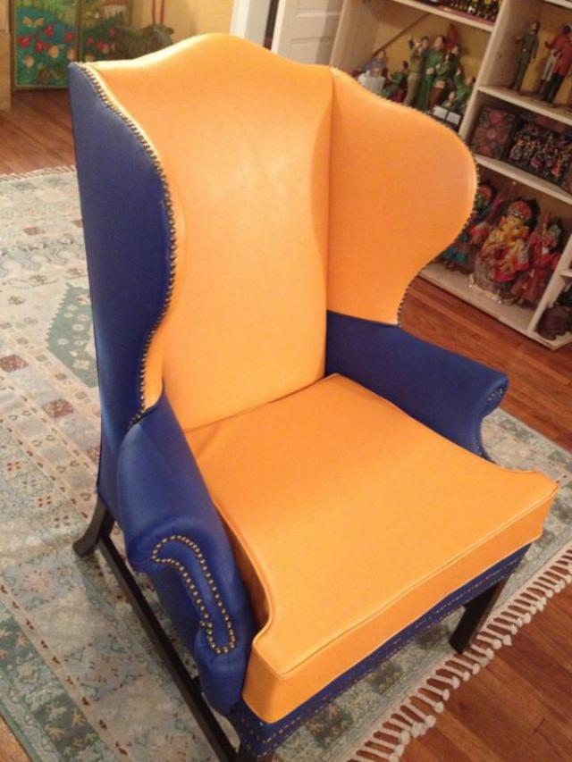 Brightly Colored Chair Loveseat Vintage Furniture Unknown