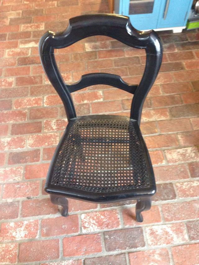 Black Wood Dining Chair with Cane Seat