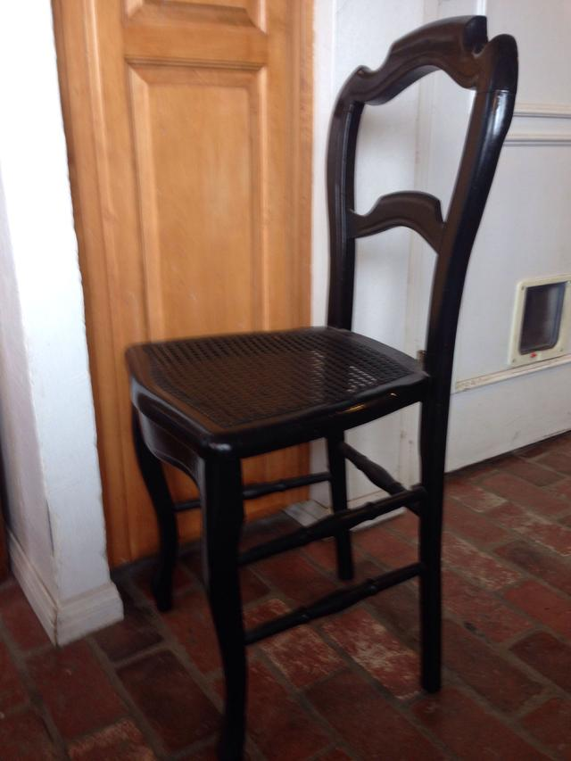 Black Wood Dining Chair With Cane Seat Loveseat Vintage