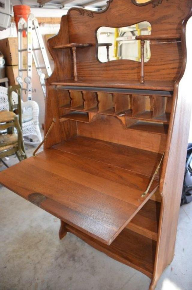 Oak Fall Front Desk Circa 1930 Loveseat Vintage Furniture San Diego