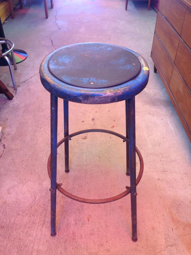 Metal Bar Stool With Leather Strip Seat Loveseat Vintage Furniture San Diego
