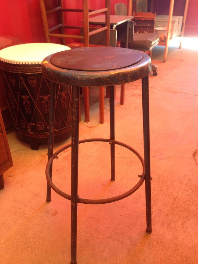 Metal bar stool with leather strip seat loveseat vintage