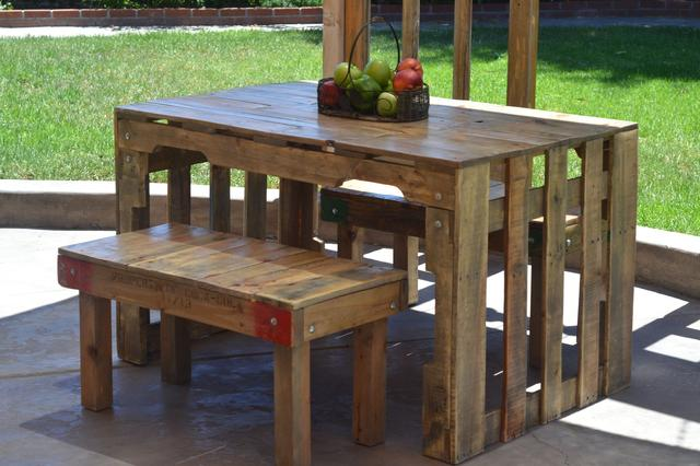 Indoor Outdoor Pallet Wood Table Loveseat Vintage