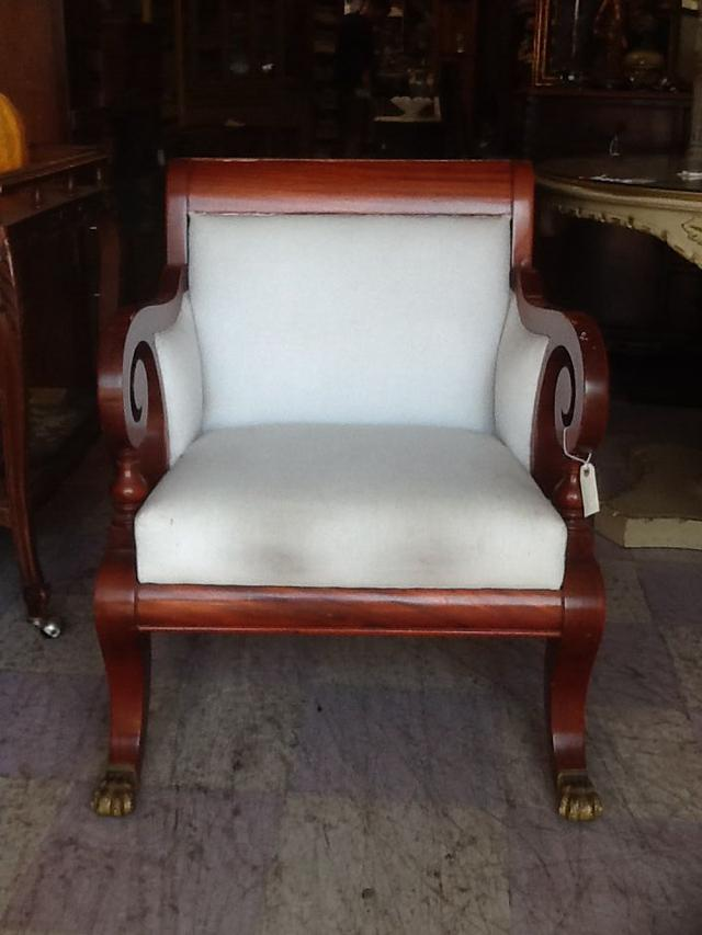 Linen Armchair With Wood Accents Loveseat Vintage