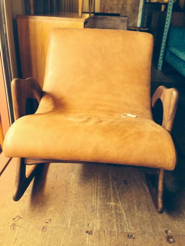 Mid Century Leather Rocker Loveseat Vintage Furniture