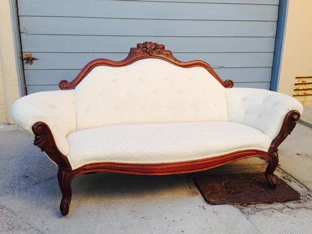 Late 1800 S Cherry Wood Antique Victorian Sofa Loveseat