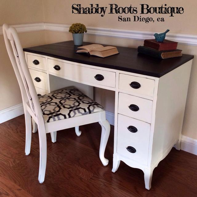 Vintage White And Black Shabby Chic Desk Chair