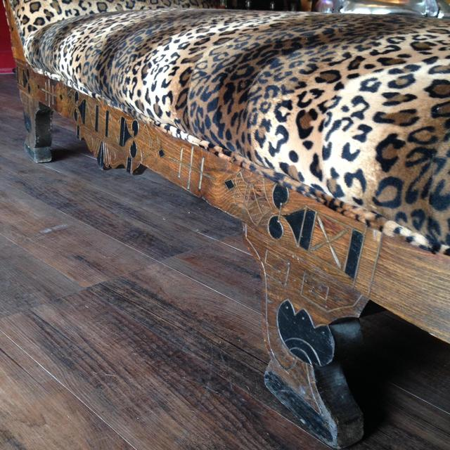 Leopard print chaise loveseat vintage furniture san diego for Animal print chaise longue
