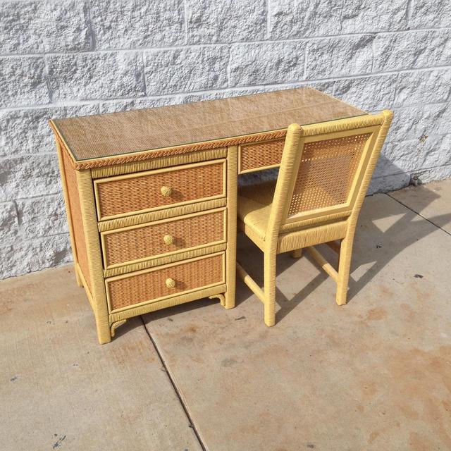 henry link designer wicker desk set loveseat vintage