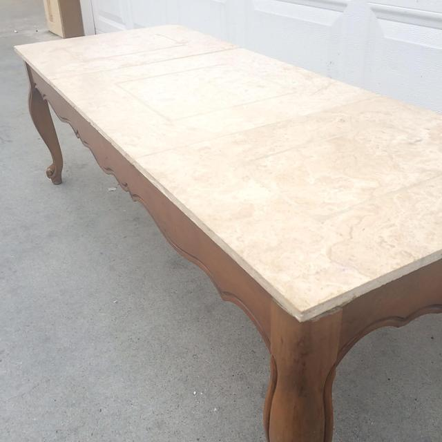 Vintage French Provincial Coffee Table: Vintage French Provincial Marble Top Coffee Table