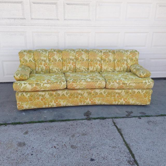 1960s retro mid century floral couch