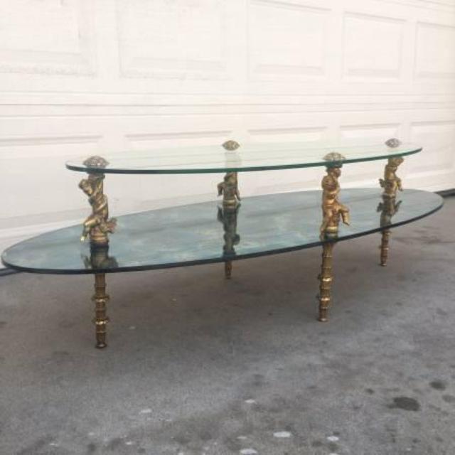 1960s Hollywood Regency Brass Glass Coffee Table Loveseat Vintage Furniture San Diego