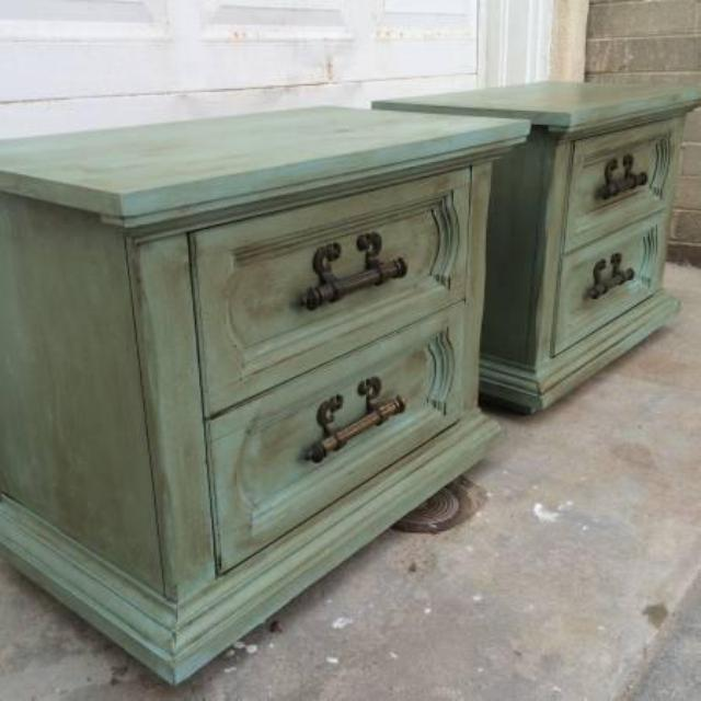 Pair Of Shabby Chic Provence Nightstands End Tab