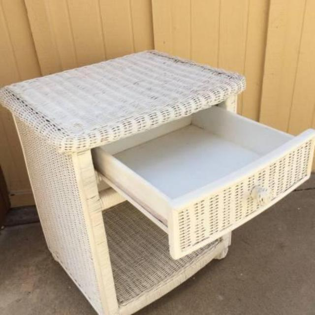 White Wicker Nightstand Loveseat Vintage Furniture San Diego