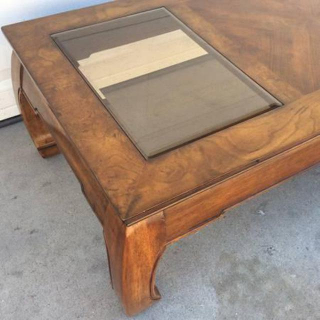 Solid Wood Glass Asian Style Coffee Table Loveseat