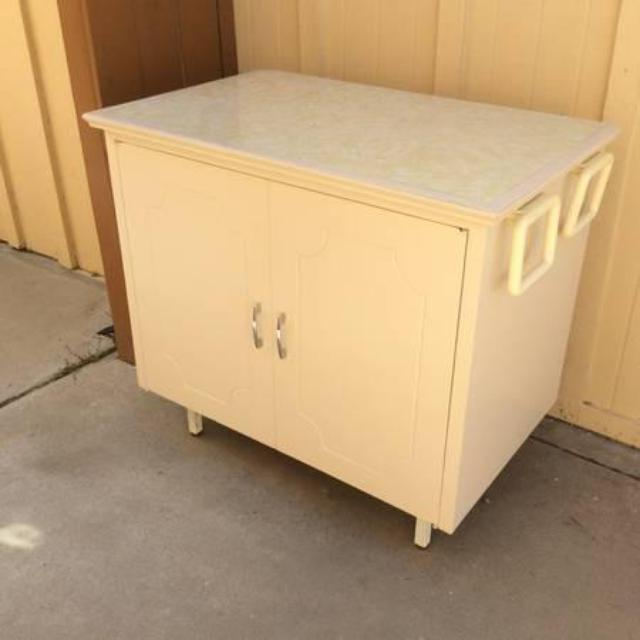 Cream White Retro Storage Cabinet Hutch Loveseat Vintage Furniture San Diego