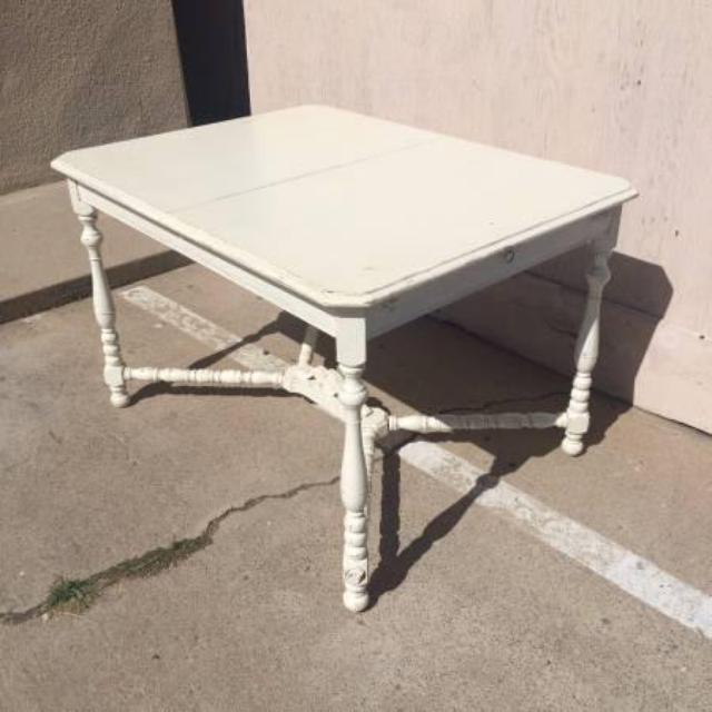 Solid Wood White Shabby Chic Vintage Dining Table Loveseat Vintage Furniture San Diego