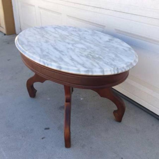 Dark Wood Italian Marble Top End Coffee Table Loveseat Vintage Furniture San Diego