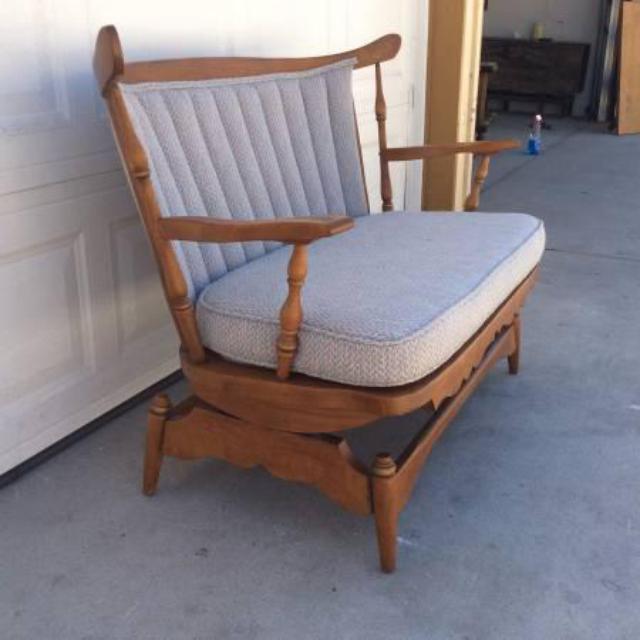 Gorgeous vintage upholstered rocking glider bench