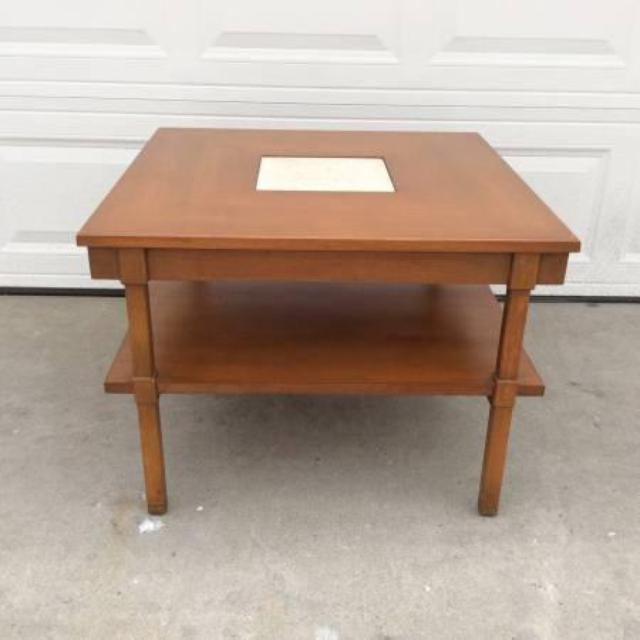 midcentury square wood coffee table w shelf
