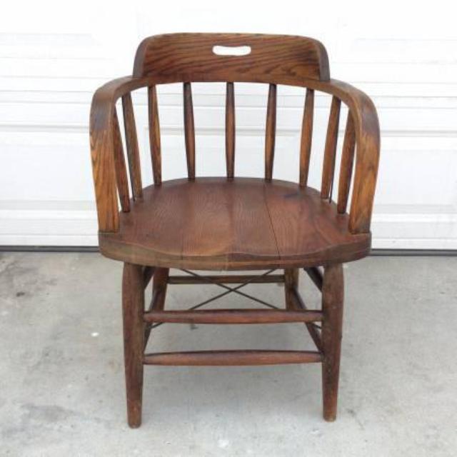 Vintage Solid Wood Oak Bucket Chair