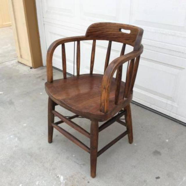 Vintage Solid Wood Oak Bucket Chair Loveseat Vintage Furniture San Diego
