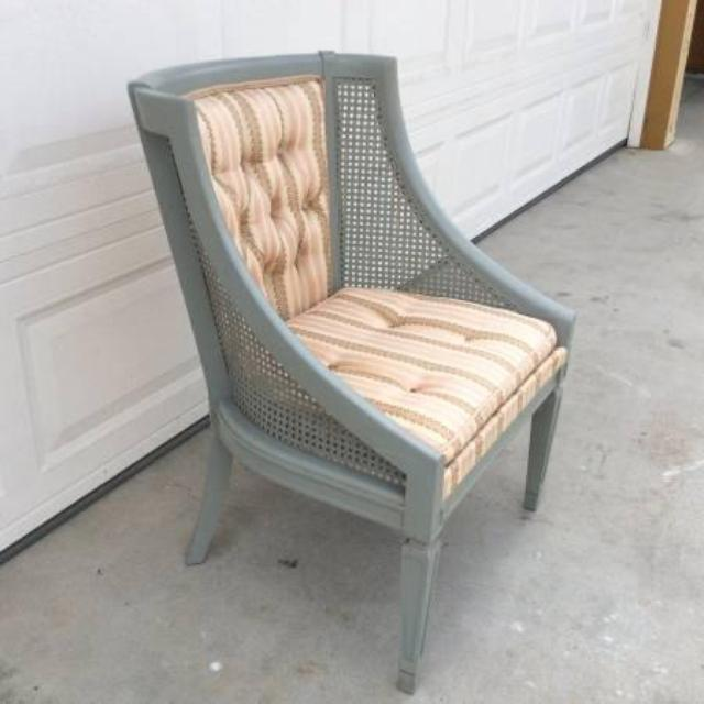 Blue Gray Bucket Cane Chair W Upholstery Loveseat Vintage Furniture San Diego