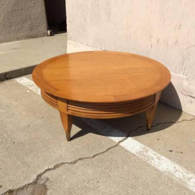 Solid Wood Mid Century Coffee Table: Round Light Wood Mid-Century Modern Coffee Table