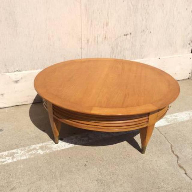 Round Light Wood Mid-Century Modern Coffee Table
