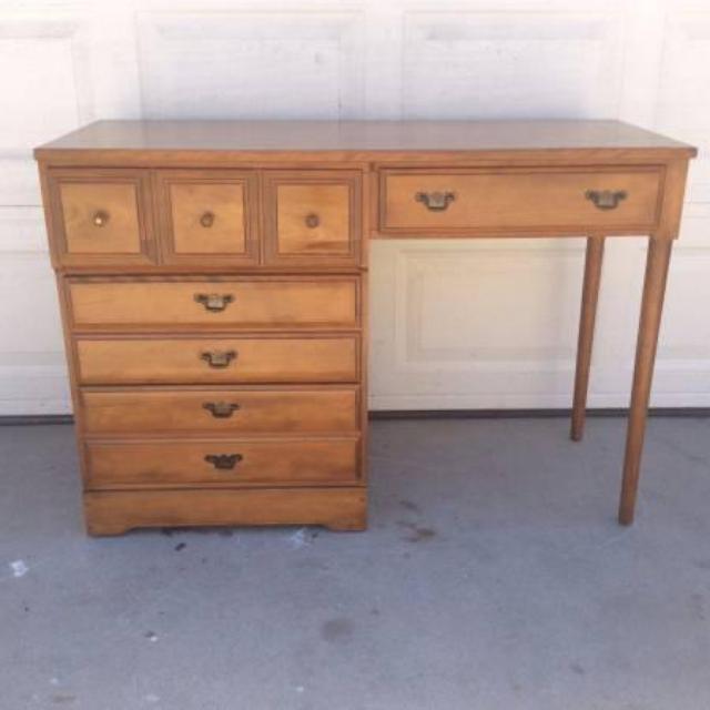 Genuine solid birch wood vintage desk loveseat