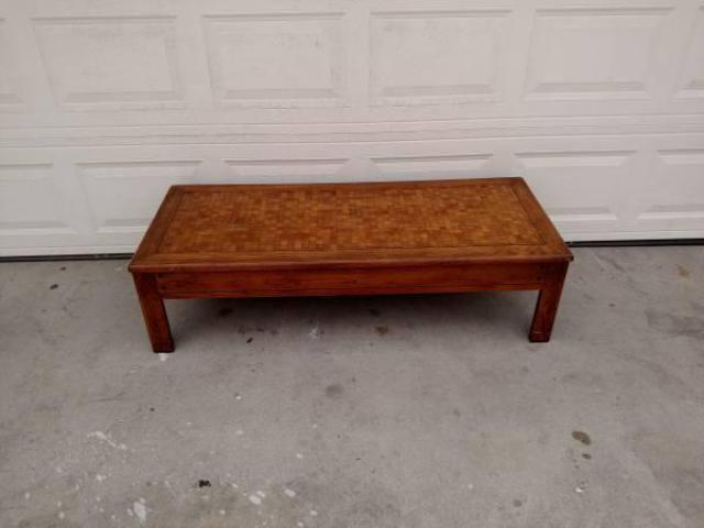 Wooden Coffee Table With Checkered Top Loveseat Vintage Furniture San Diego