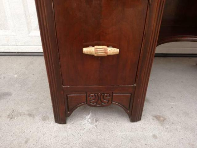 Antique Solid Wood Vanity Desk W Light Handles Loveseat