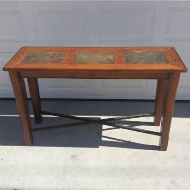 Solid Wood Console Table With Stone Panels Loveseat
