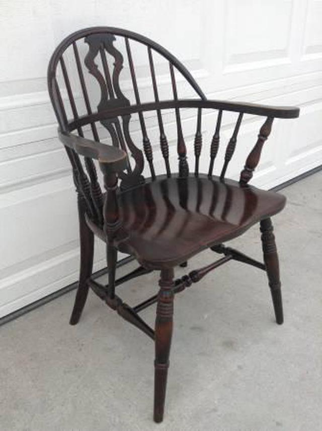 Solid Oak Windsor Chairs ~ Solid wood antique windsor chair loveseat vintage