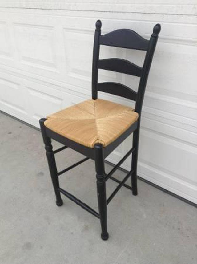 Tall Wooden Bar Stool W Cane Seat Loveseat Vintage
