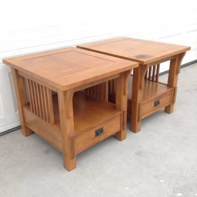 Pair Of Wooden Mission Style End Tables By Bassett