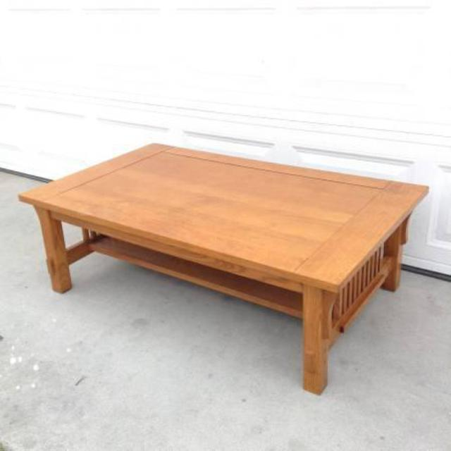Solid Maple Mission Style Coffee Table By Bassett Loveseat Vintage Furniture San Diego