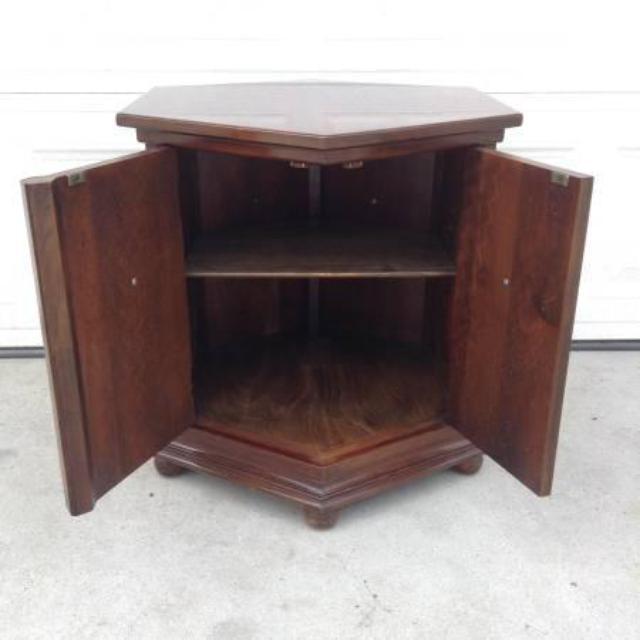 Dark Wood Hexagon End Table Loveseat Vintage Furniture