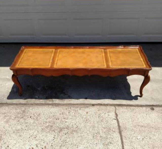 Long Vintage Coffee Table W/ Leather Top
