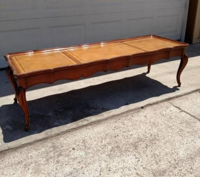 Long Vintage Coffee Table W Leather Top Loveseat