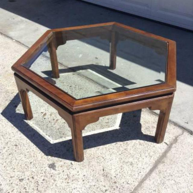 Ethan Allen Gage Coffee Table: Ethan Allen Vintage Hexagon Coffee Table W/ Glass
