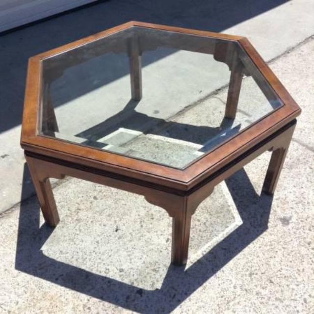 Ethan Allen Coffee Table Glass Top: Ethan Allen Vintage Hexagon Coffee Table W/ Glass
