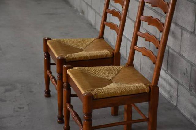 Pair Of Solid Maple Ladderback Chairs Loveseat Vintage Furniture San Diego