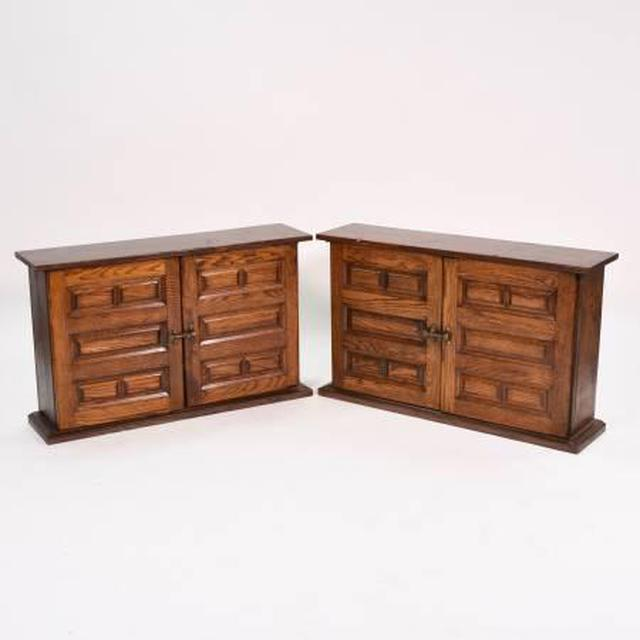 Pair Of Vintage Solid Wood Thin Console Cabinets Loveseat Vintage Furniture San Diego