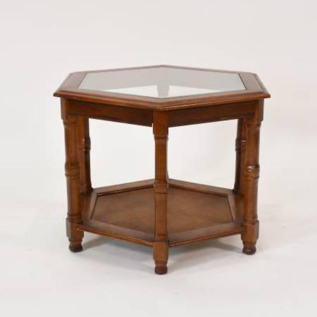 Hexagon Wood Side Table W Glass And Rattan Loveseat