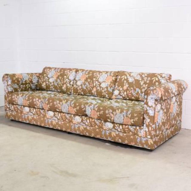 Long Retro Sofa In Brown Floral Print Loveseat Vintage Furniture San Diego