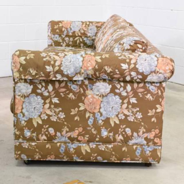 Long Retro Sofa In Brown Floral Print Loveseat Vintage Furniture San Diego
