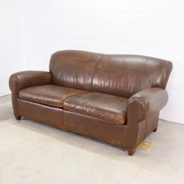 Distressed Brown Leather Loveseat Sofa Loveseat Vintage Furniture San Diego