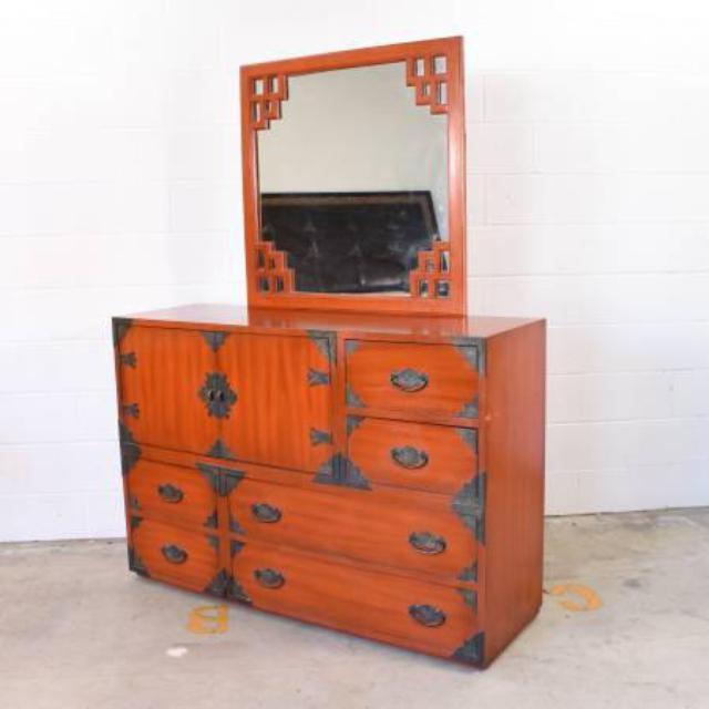 Thomasville asian dresser w mirror loveseat vintage for Japanese furniture san diego