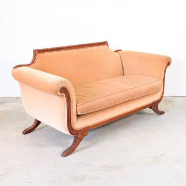 Antique Sofa Loveseat: Antique Peach Wood Sofa W/ Curved Legs And Arms